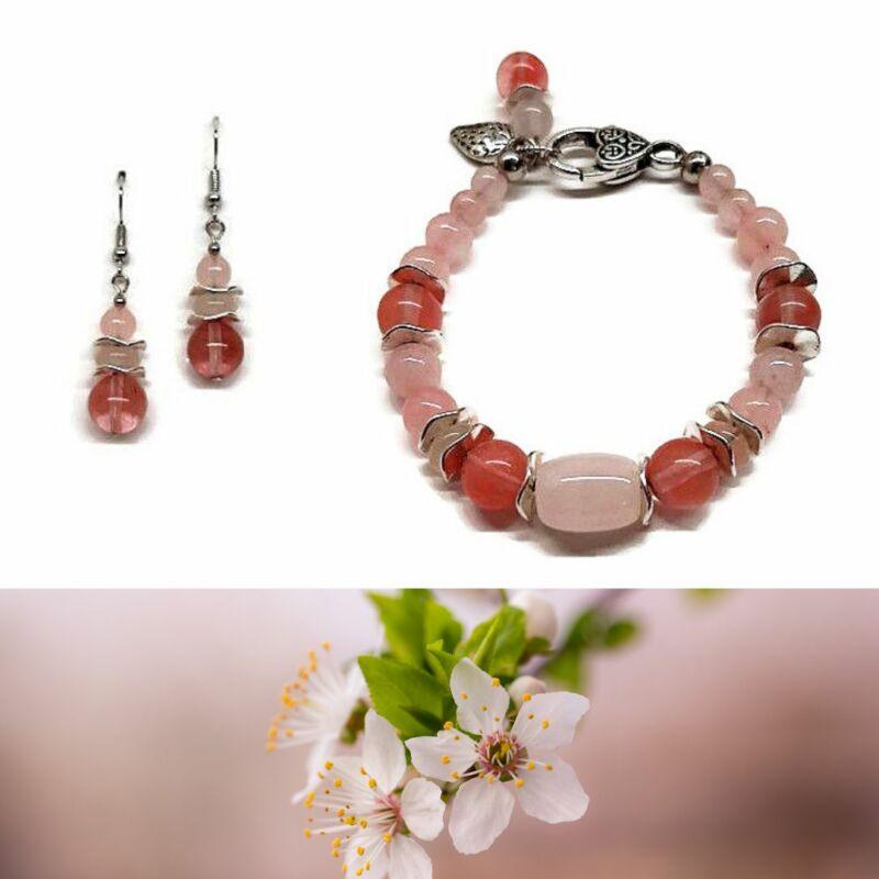 Ásvány ékszer szett : A tavasz hírnökei rózsakvarc-eperkvarc karkötő, fülbevaló