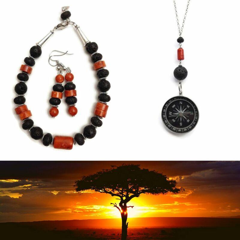 Ásvány ékszer szett: Afrika érintése Lávakő-Korall nyaklánc, karkötő, fülbevaló