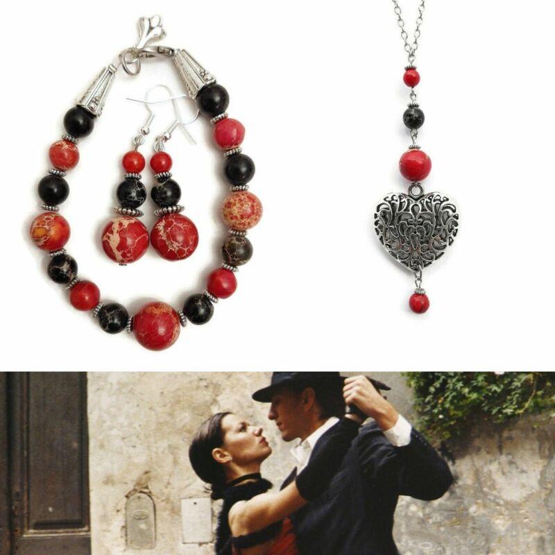 Ásvány ékszer szett: Szenvedélyes tango Jáspis nyaklánc, karkötő, fülbevaló