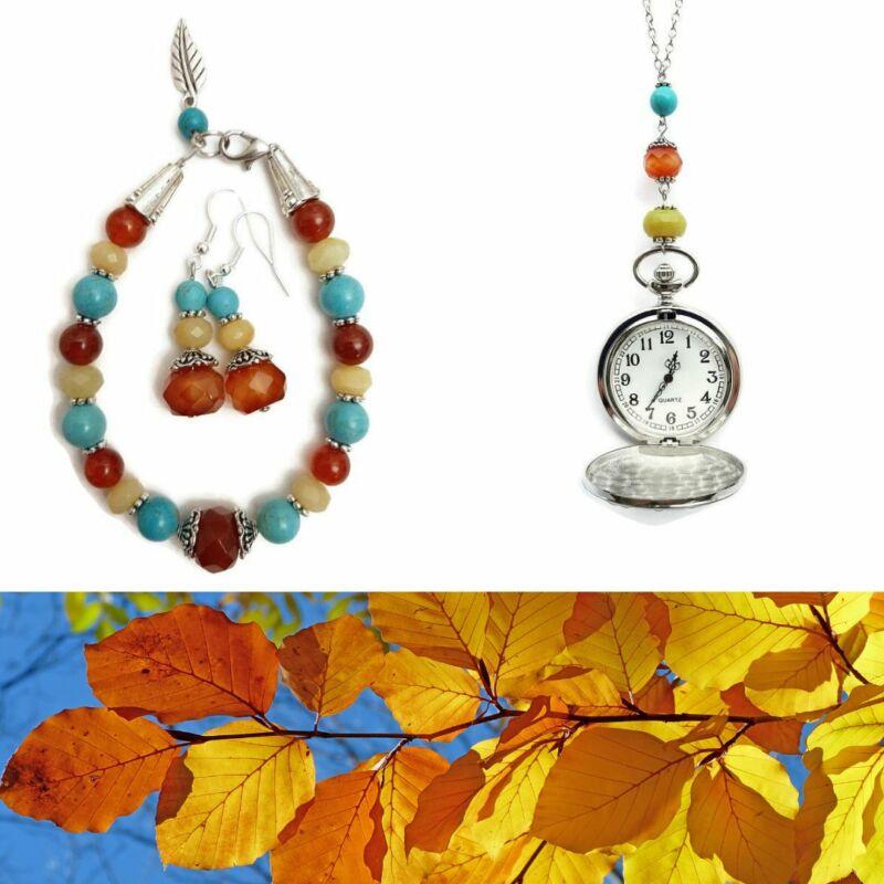 Ásvány ékszer szett: Varázslatos őszi séta Türkenit-Jáde-Karneol nyaklánc, karkötő, fülbevaló