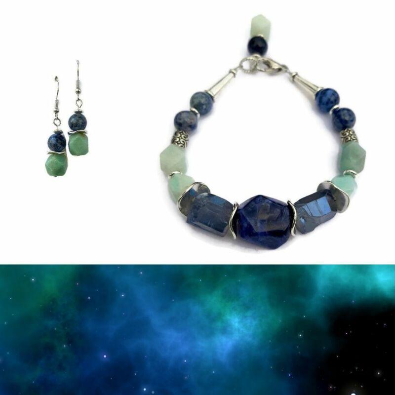 Ásvány ékszer szett: Misztikus szodalit-kvarc amazonit karkötő, fülbevaló