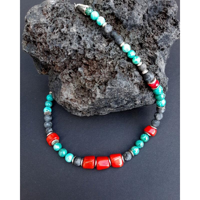 Rövid ásvány nyaklánc: Korall-Türkenit-Lárvikit