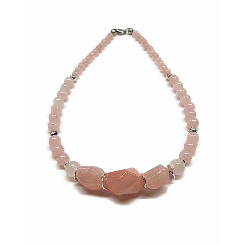 Rövid ásvány nyaklánc: Rózsakvarc