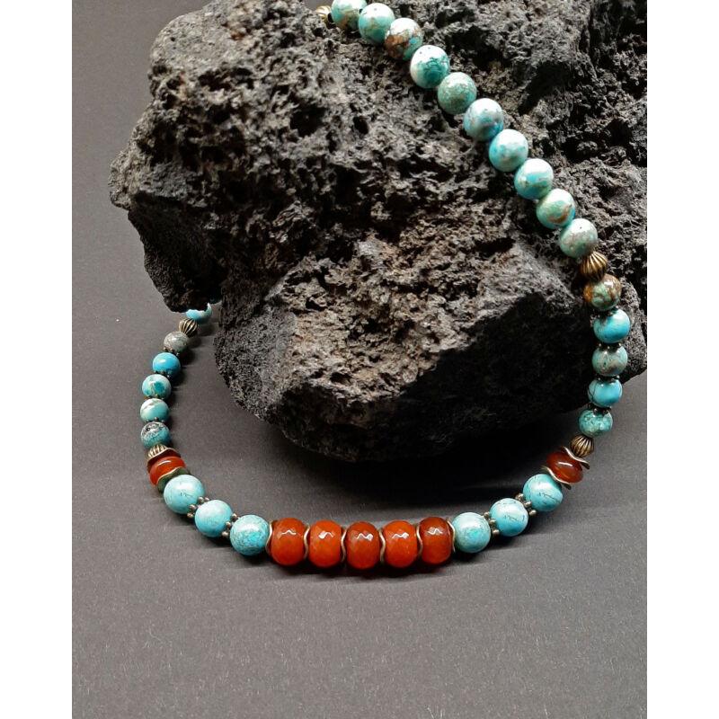 Rövid ásvány nyaklánc: Türkenit-Karneol