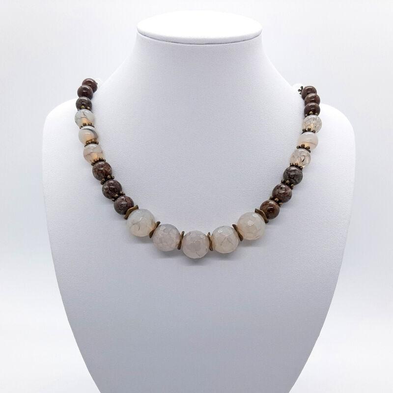 Rövid ásvány nyaklánc: Achát-Obszidián