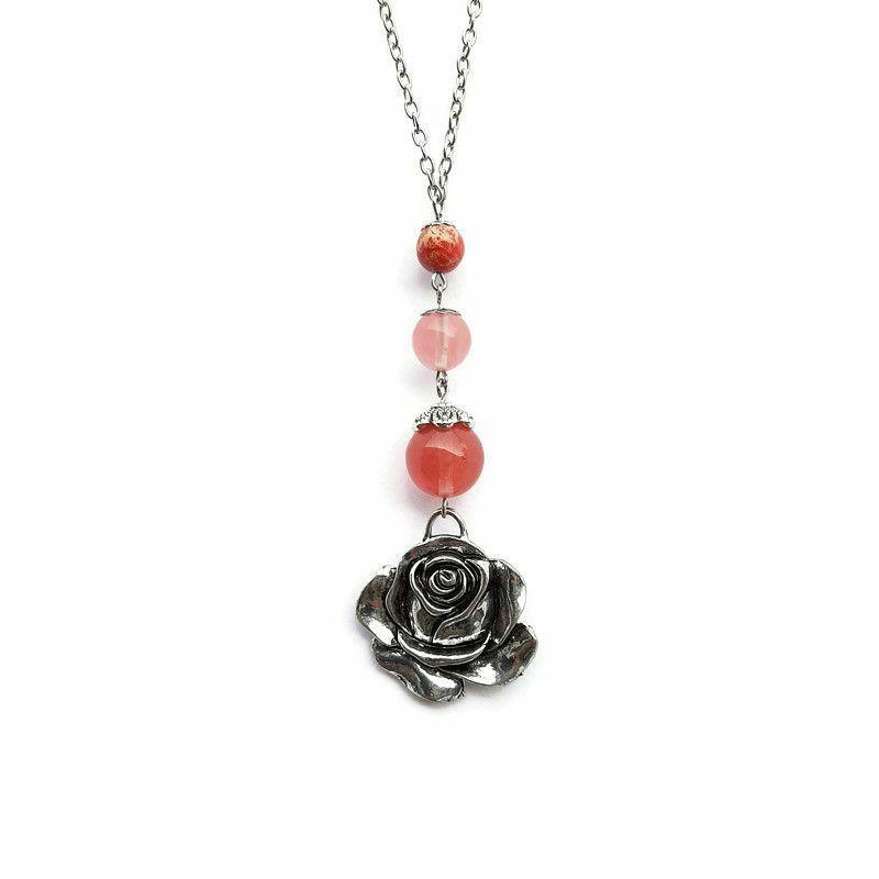 A rózsa neve: rózsakvarc-eperkvarc nyaklánc