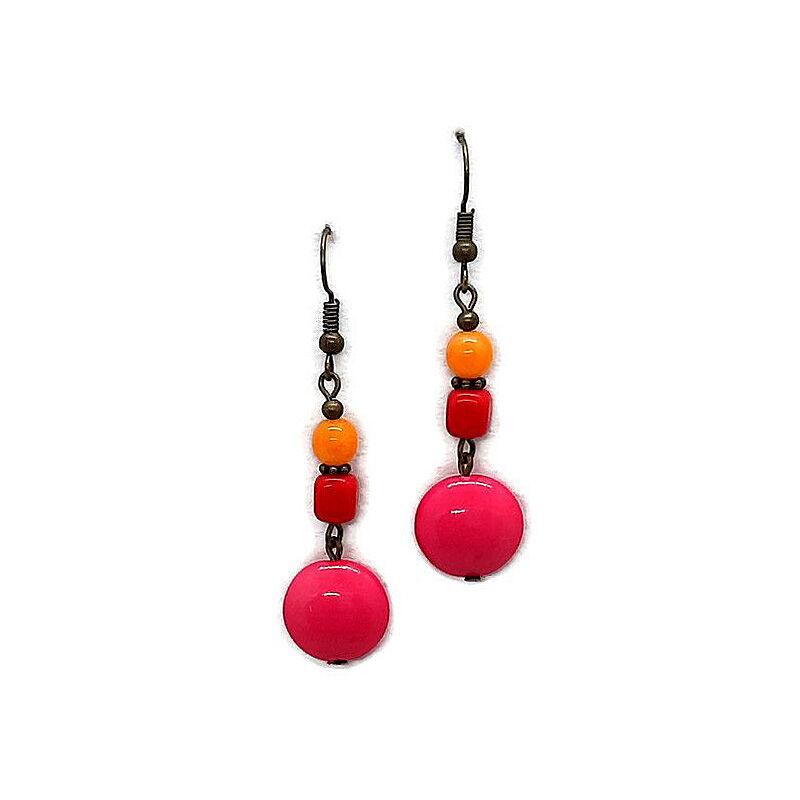 Érdekes színpárok gyöngy fülbevaló: Pink-piros-narancs