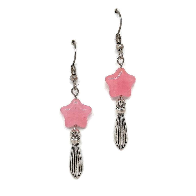Rózsaszín üveggyöngy csillagos fülbevaló