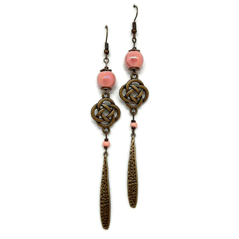 Rózsaszín hosszú kerámia fülbevaló