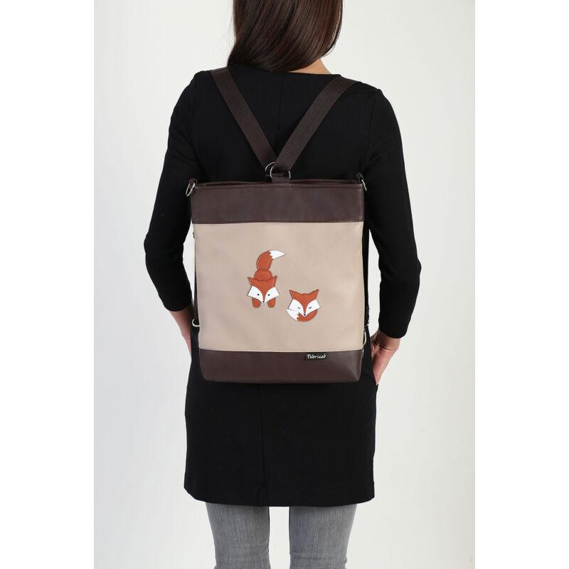2 in 1 nagy oldaltáska-hátizsák rókás