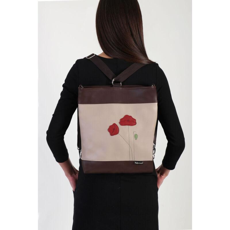 2 in 1 nagy oldaltáska-hátizsák pipacsos