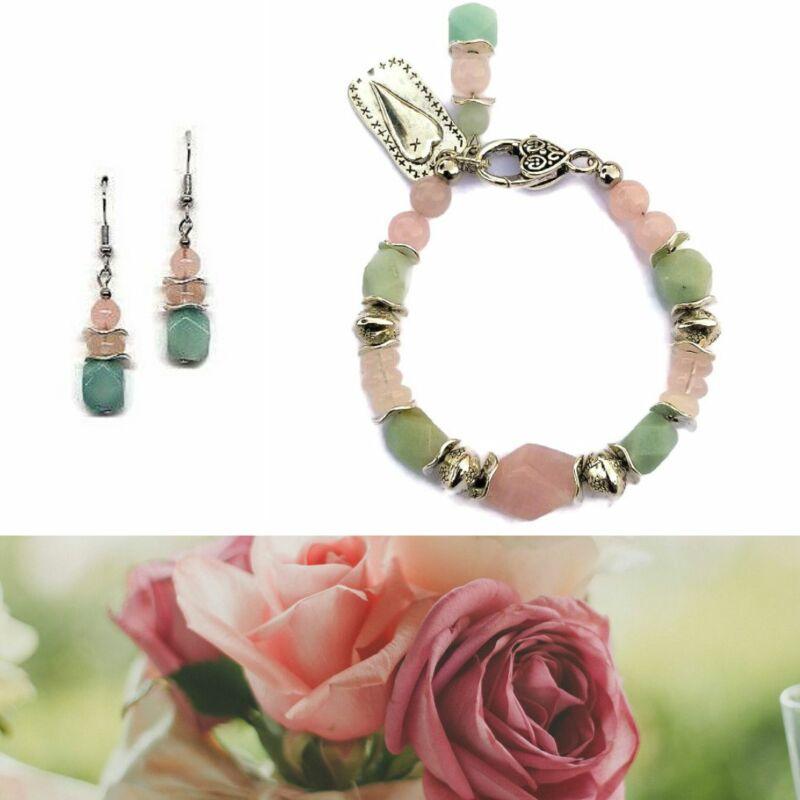 Ásvány ékszer szett: Éljen a romantika rózsakvarc-amazonit karkötő, fülbevaló