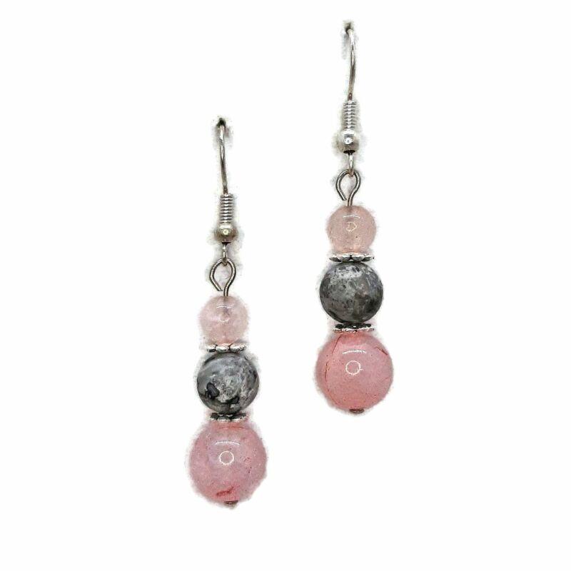 Édes kívánság: szürke jáspis-rózsakvarc ásvány fülbevaló