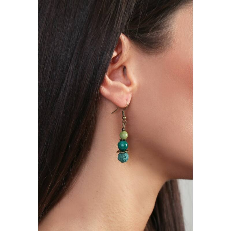 Zöld Jáde, Lávakő fülbevaló