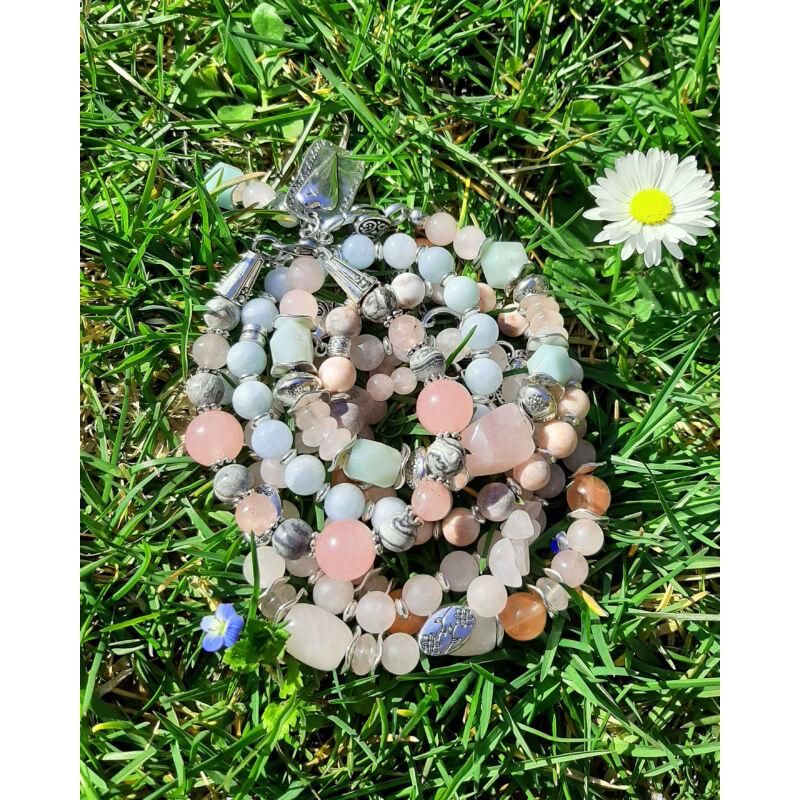 Édes kívánság: szürke jáspis-rózsakvarc ásvány karkötő