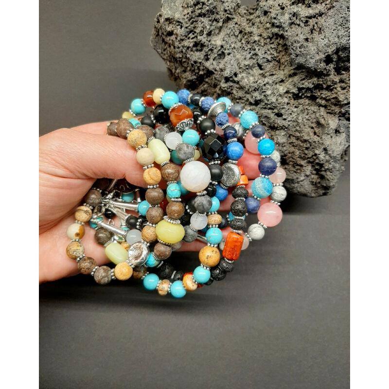 Sejtelmes izgalom: achát-lárvikit ásvány karkötő