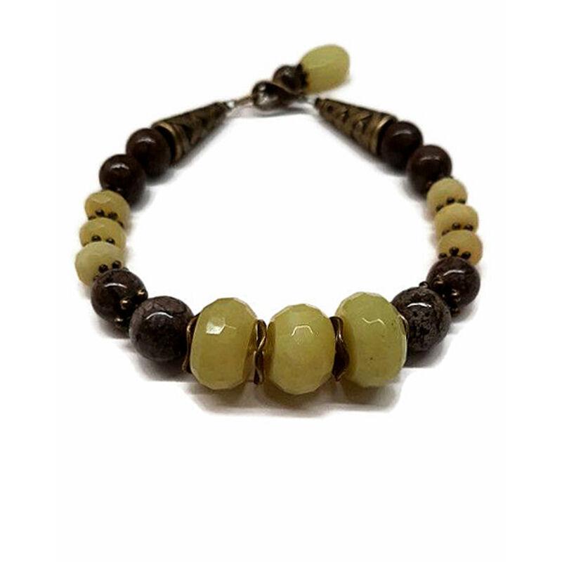Örökélet-karkötő: oliv jáde-barna obszidián