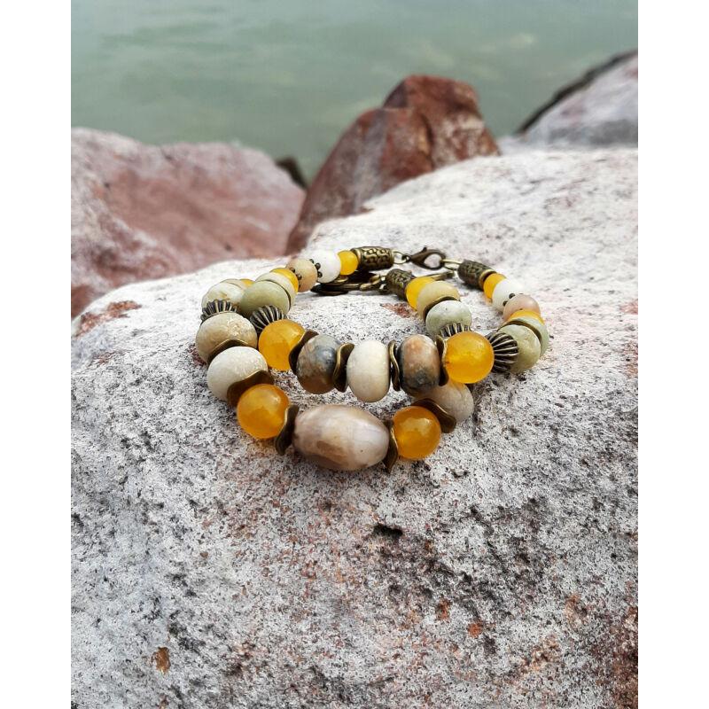 Nyárvégi dallamok – sárga jáde, amazonit karkötő