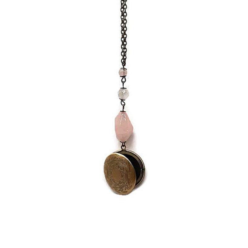 Medalion nyaklánc rózsakvarccal
