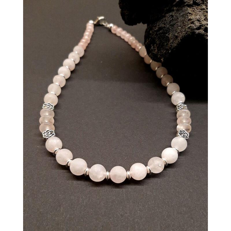 Rövid ásvány nyaklánc: matt rózsakvarc