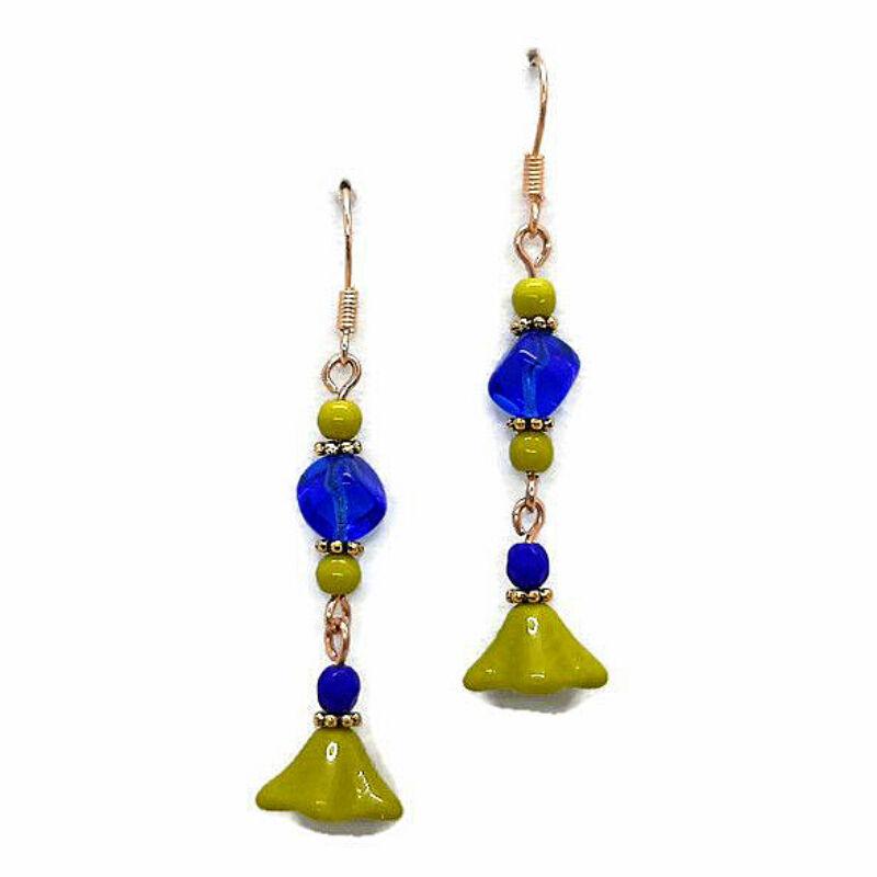 Érdekes színpárok gyöngy fülbevaló: Kék-zöld