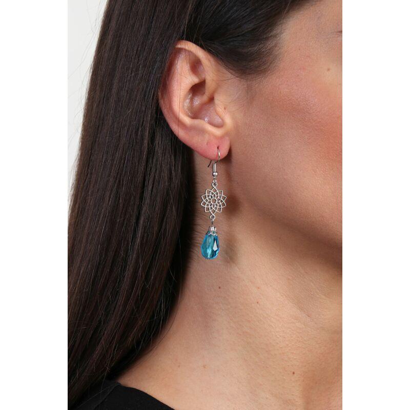 Kék csiszolt gyöngy fülbevaló