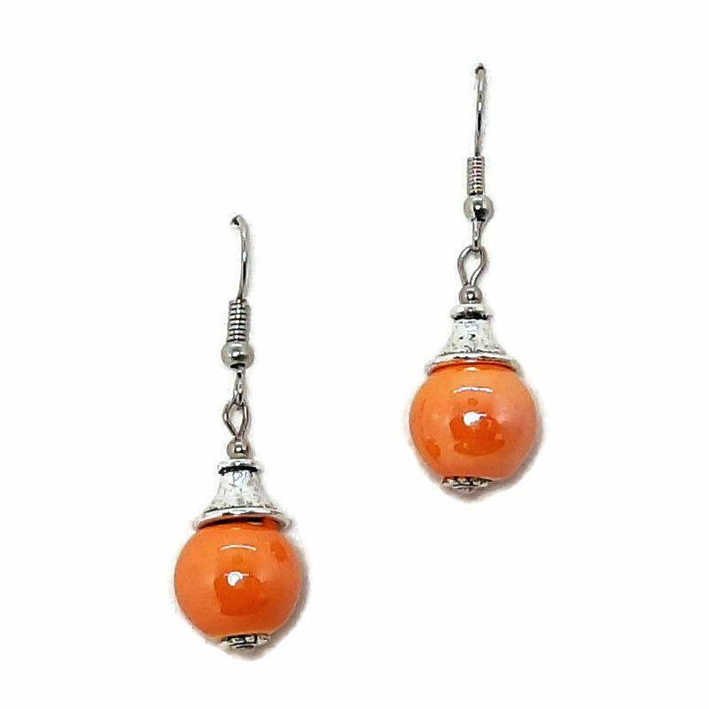 Narancs gömb kerámia fülbevaló