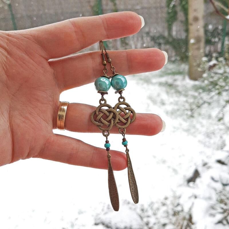 Türkiz zöld hosszú kerámia fülbevaló