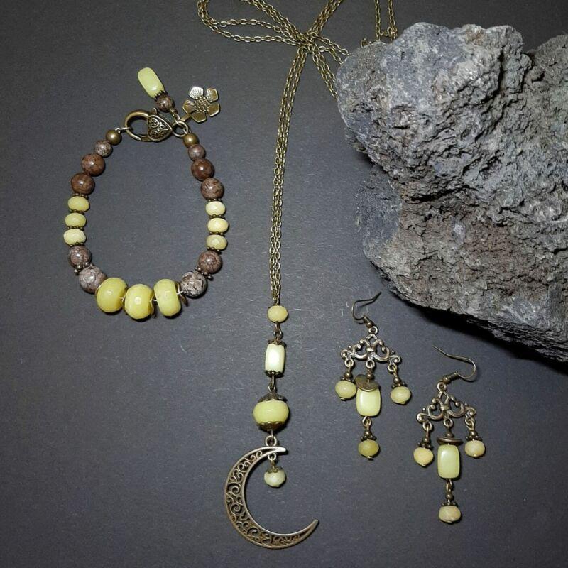 Oliv jáde láncos hosszú nyaklánc